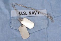 My marynarka wojenna mundur z pustymi psimi etykietkami Zdjęcia Royalty Free