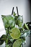 My mojito. Cocktail mojito with mint and green lime Stock Photos