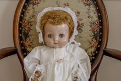 Vintage doll. My mom`s childhood toy from the 1930`s Stock Photo
