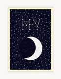 My Moon, night sky, constellation lettering, Happy Valentines Day poster Royalty Free Stock Images