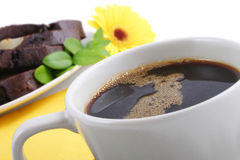 My morning coffee. Coffee cup and chocolate cheese cake Stock Images