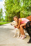My most bellowed dog - teenage girl hug her pet Stock Image