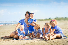My mother with five children Stock Photo