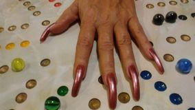 My mothers hand authentic finger nails stock photo