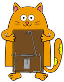 My mouse trap. A smiling cartoon cat holding a mouse trap Royalty Free Stock Photos