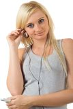 My mp3. Young girl and new mp3 player Stock Images
