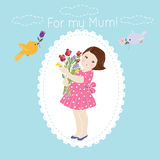 For my mum.Greeting card. Decorative background with illustration of girl with flowers vector illustration