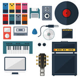 My Music Studio Instrument Flat Design Stock Image