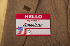 My name is American. Hello my name is American Royalty Free Stock Photography