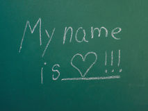 My name is love, written in white chalk Royalty Free Stock Photo