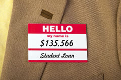 My Name Is... Student loan name badge on jacket Royalty Free Stock Images