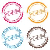 My offers badge isolated on white background. Flat style round label with text. Circular emblem vector illustration Stock Photo