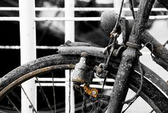 My old bicycle. An old rusty bicycle taken from the canals of Amsterdam Stock Images