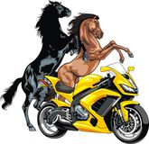 My original motorbike design and horses Royalty Free Stock Photo
