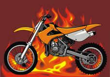 My original motorbike with fire background Royalty Free Stock Images