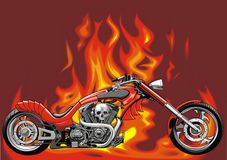 My original motorbike with fire background Royalty Free Stock Photos