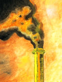 My original painting of chimney with dense smoke Royalty Free Stock Photo