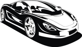 My original sport car design. In black and white Stock Photo