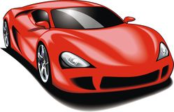 My original sport car (my design) in red color Stock Photography