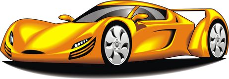 My original sport car (my design) in yellow color Stock Image
