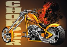 My original yellow motorbike chopper design Royalty Free Stock Photo