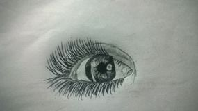 this is my own pencil art eye  ❤❤ stock photography