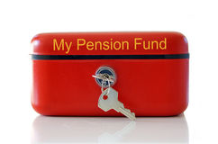 My Pension Fund. Red my pension fund cash tin isolated over white stock photography