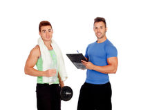 With my personal trainer Royalty Free Stock Photography
