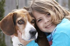 My pet. A cute picture of a young beagle and a little girl stock photography