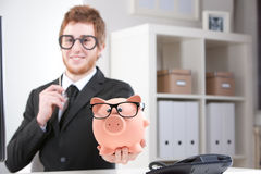 My piggybank and me: a really nice couple, aren't we? Stock Photography