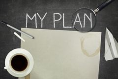 My plan concept on black blackboard with empty Royalty Free Stock Photography