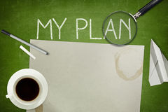 My plan concept on green blackboard with empty Royalty Free Stock Images