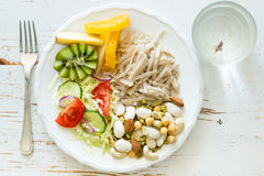 My plate - vegan portion control guide. Top view Royalty Free Stock Photography