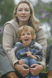 My Point Is... A mother and her young son in the garden stock image
