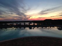 My pool view. View of the sky by the pool. Great evening Royalty Free Stock Image