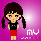 My profile girl logo violet Stock Images