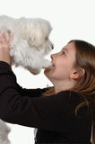 My Puppy. Little girl holds up her little Maltese puppy. On white background, path included Royalty Free Stock Photo
