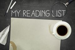 My reading list concept on black blackboard with Stock Photos