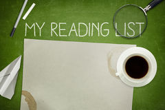 My reading list concept on green blackboard with Royalty Free Stock Photos