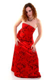 My Red Dress. Female standing wearing red dress Royalty Free Stock Image