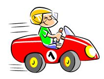 My red toy car. Little boy playing in his pedal car. Child who dreams of being a speed race car driver when he grows Stock Illustration