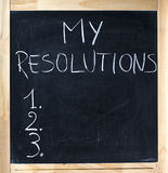 Numbered list my resolutions handwritten blackboard chalkboard stock images