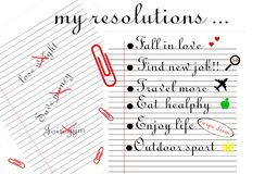 `My resolutions` illustration.Two lined sheets, one with three resolutions with a cross in red and other with six final resolution royalty free illustration
