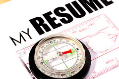 My Resume. Inscription My Resume and compass. Idea of a photo - choose the direction royalty free stock image
