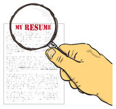 My resume. Vector illustration. The concept on a resume. Hand with magnifying glass Royalty Free Stock Image