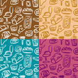 My room pattern. Colorful pattern with teenage stuffs stock illustration
