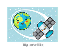 My satellite. Kawaii space funny card. Doodles with pretty facial expression. Illustration of cartoon earth and sputnik.  Stock Image
