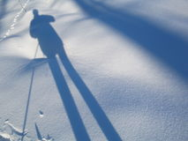 My shadow. A shadow of skier in winter royalty free stock images
