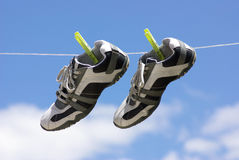 My shoes. Porting shoes hung with springs to dry Royalty Free Stock Image