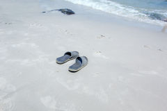 My shoes on the Beach. Beach and  sea with sky at Huahin Royalty Free Stock Photos